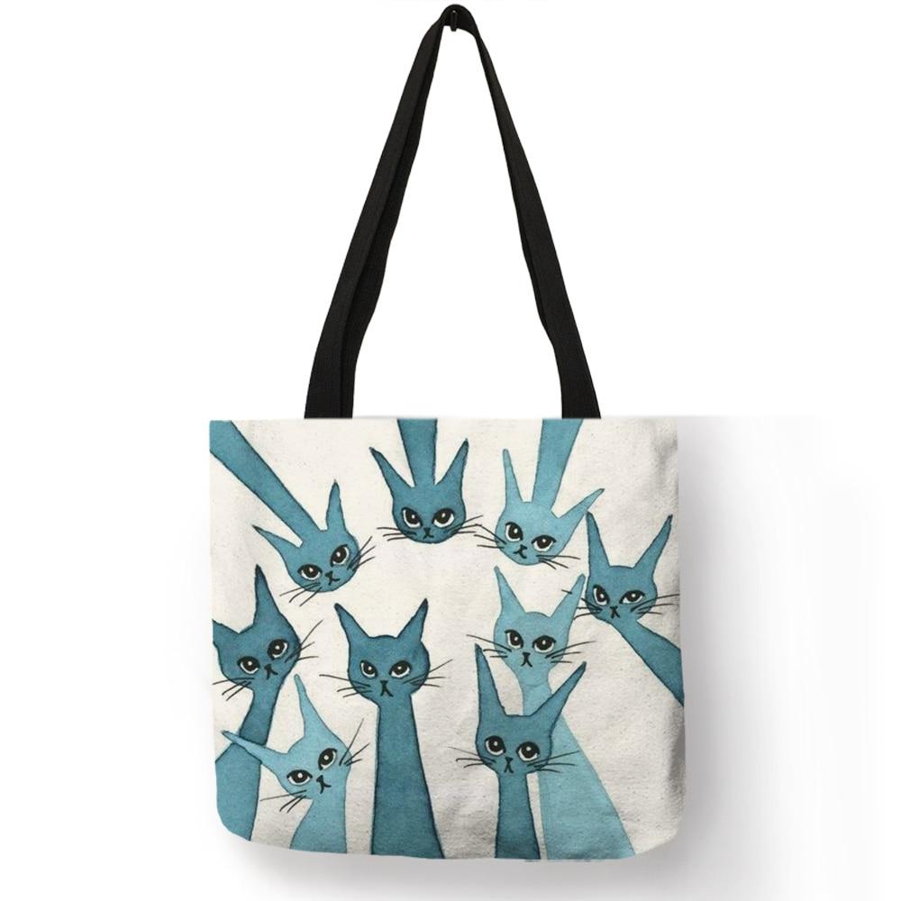 Ladies Girls Casual Portable Fashion Handbag Colorful Cartoon Cute Cat Kitten Printing Design Shoulder Bag Eco Linen Daily Totes