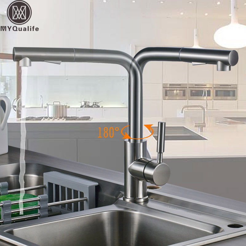 Luxury Brushed Pull Out Kitchen Faucet One Handle Sprayer Stream Spout Hot and Cold Water Taps 360 Rotate Pull Down Sprayer ripudaman singh karun deep and amandeep kaur brea subject stream gender