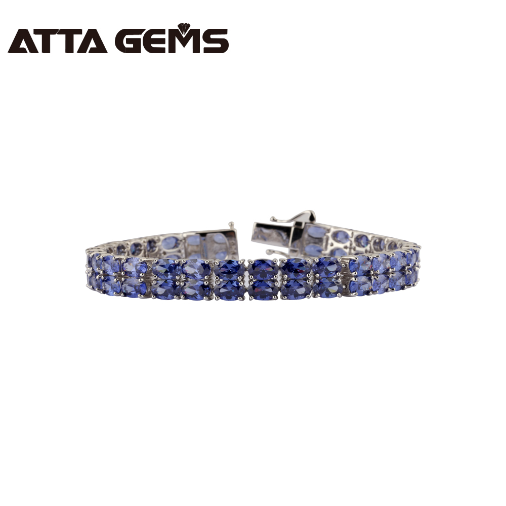Tanzanite Sterling Silver Bracelet 58 Pieces of Tanzanite Royal And Luxury Style For Women Fine Jewelry New Year GiftsTanzanite Sterling Silver Bracelet 58 Pieces of Tanzanite Royal And Luxury Style For Women Fine Jewelry New Year Gifts