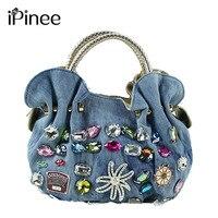 2016 New Women Denim Bags Sweet Blue Pattern High Quality Handbags With Diamond Ladies Tote Bag
