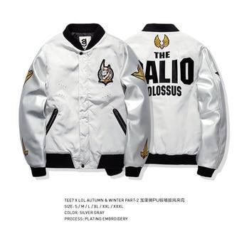 Tee7 Game  Bomber Jacket For Men Hot Sale Coat PU Sleeve Patchwork Outwear Hip Hop Jacket Men Warm Windbreaker Brand Clothing