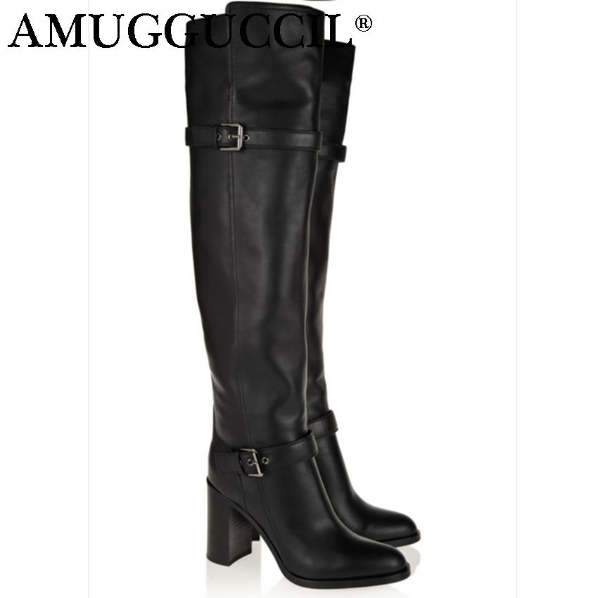 2018 New Plus Big Size 31-45 Black Leather Buckle High Heel Sexy Knee High Autumn Winter Girl Lady Females Womens Boots X1650 2017 new plus big size 33 44 black beige brown buckle zip knee high autumn girl lady females warm winter womens boots x1663