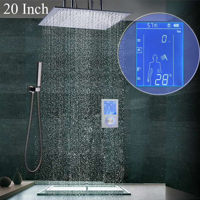 High Quality Copper Smart Shower System Rainfall Shower Head Set Intelligent Display Thermostat Mixer 20 Inch Polished Faucets