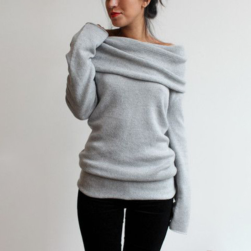 8c9593338de2 Long Sleeve Pullover Coat Women Cowl Neck Off Shoulder Boho Chic Sweater  Oversize Jumper Top Winter Sweatershirt Blouse-in Pullovers from Women's  Clothing ...