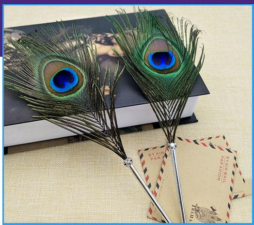 Mail European Retro Feather Pens Peacock Feathers Craft Creative Ball Birthday Gifts In Banner From Office School Supplies On