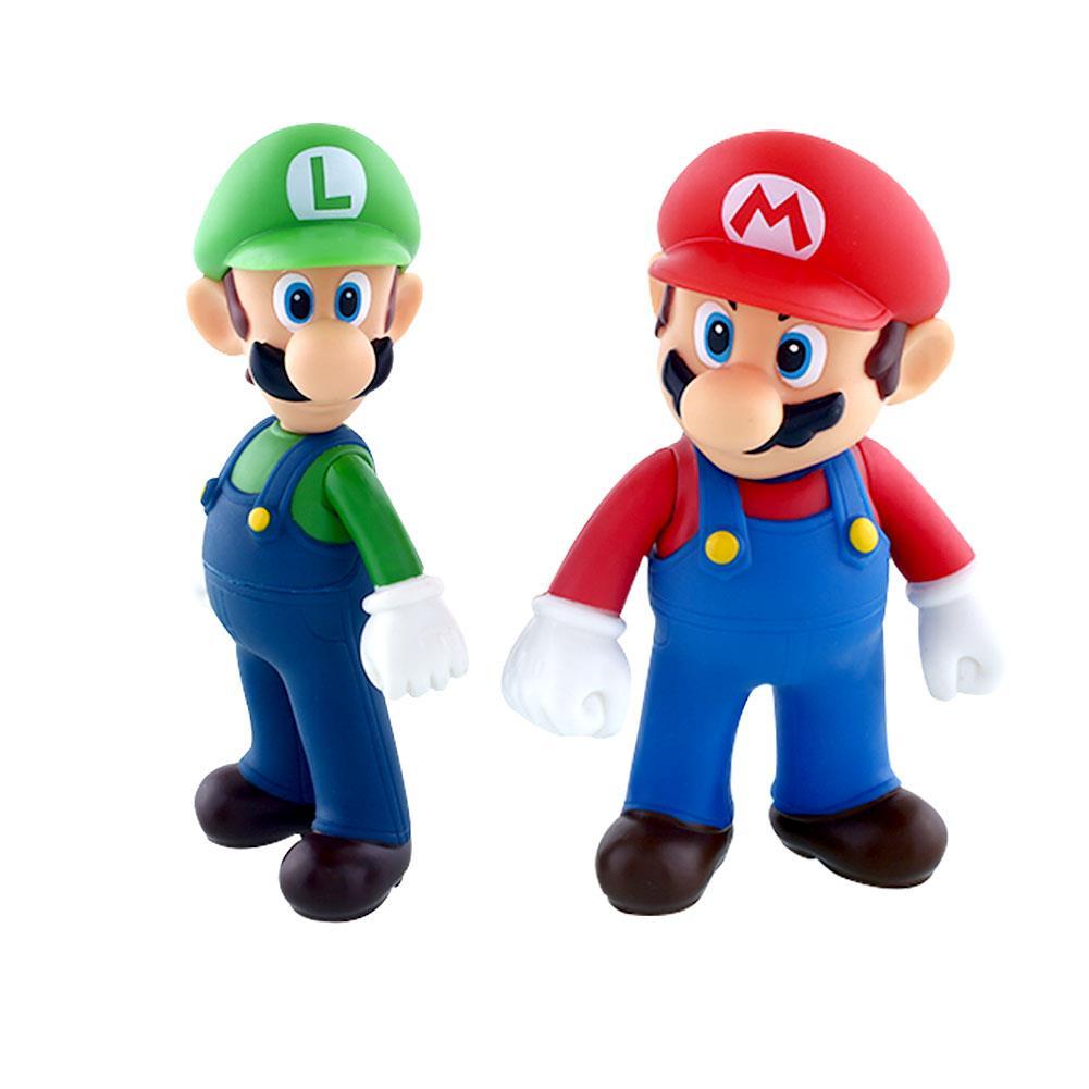 Funny 2Pcs Nintendo Super Mario Bros Brothers Luigi Toy PVC Action Figures Bros