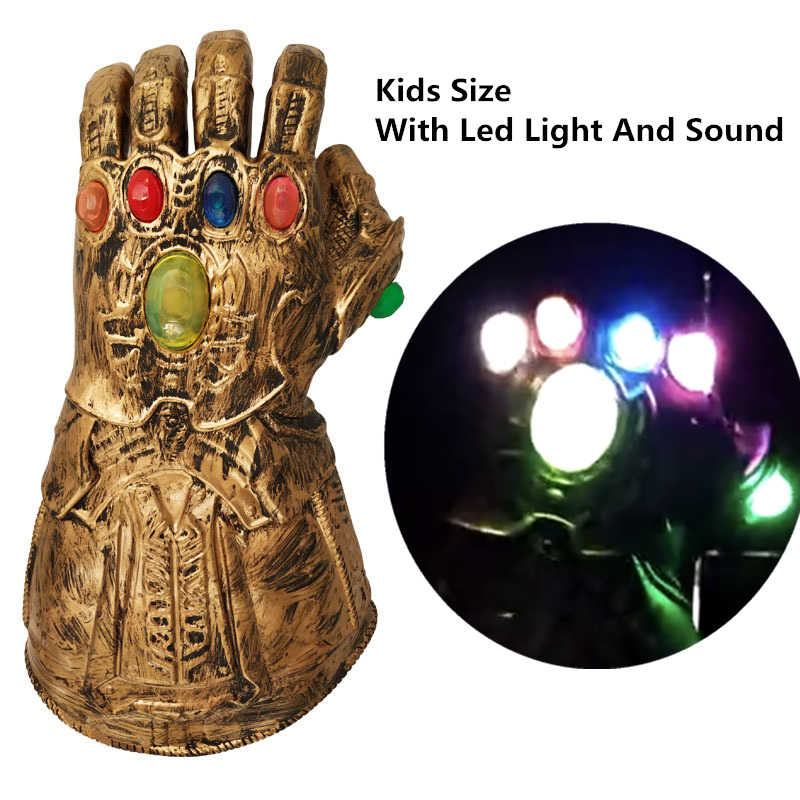 Kids Size Latex Gloves Thanos Infinity Gauntlet LED Light Superhero Cosplay  For Party Christmas Gifts The Avengers Infinity War
