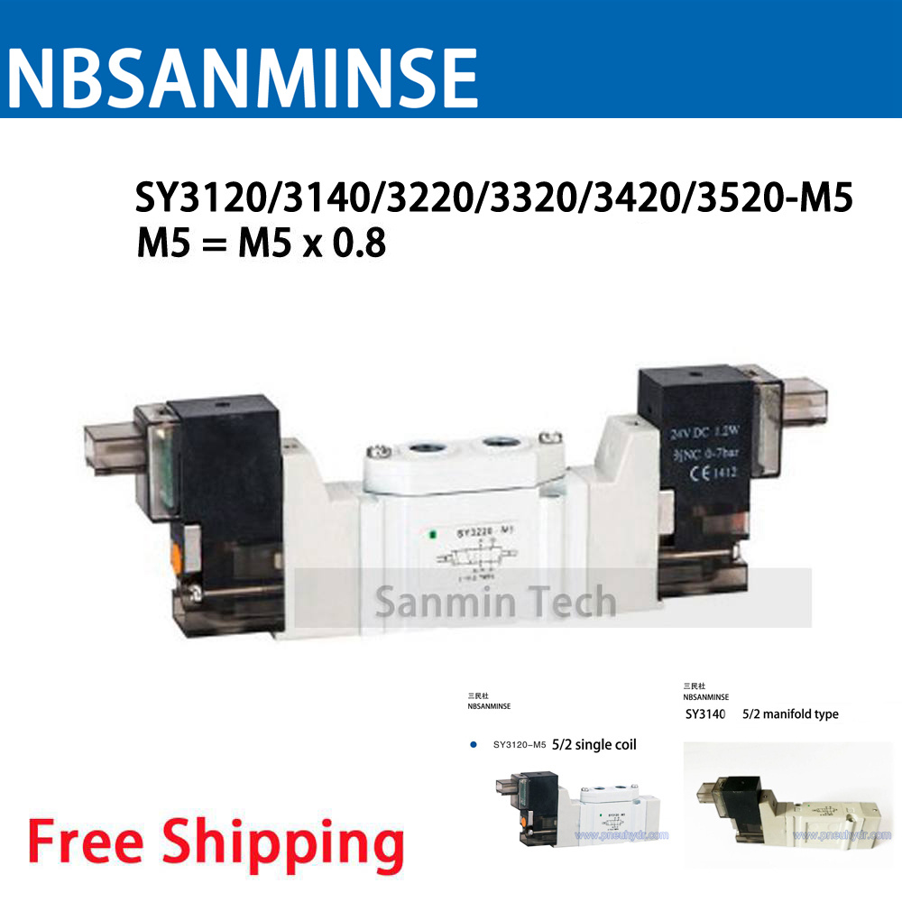 NBSANMINSE SY3000 M5 Size Pneumatic Mini Solenoid Valve 2 Position 5 Way Electromagnetic Valve SMC Replace Type original vz3120 5dz m5 vz3120 4g m5 vz3320 5gs m5 vqz332 5l 02t x90 pneumatic components smc new original solenoid valve