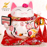 Lucky Cat Gold Ornaments Large Ceramic Piggy Gift Shop Opened Japan To Save 0282