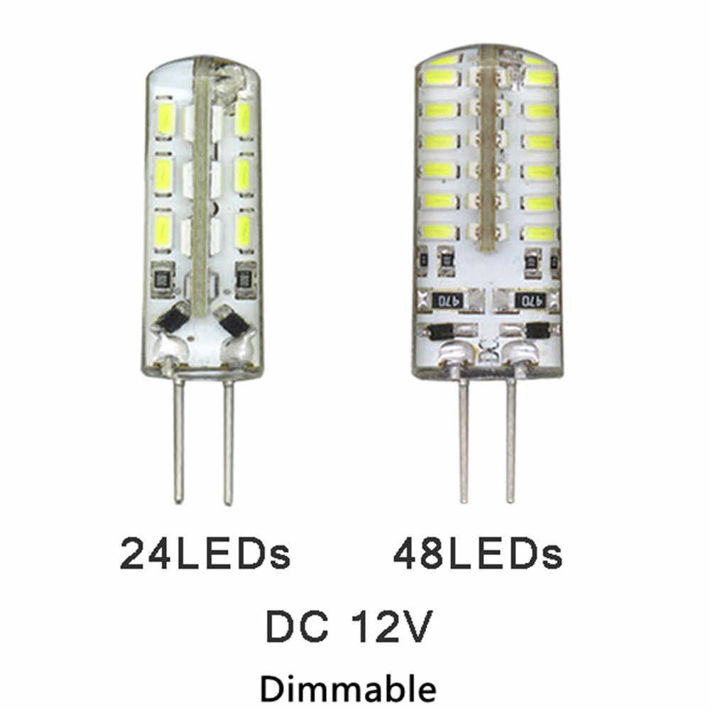 1 x 3W 6W LED G4 Dimmable Bulb 12V DC 24LEDs 48LEDs 3014 Silicon Lamp Crystal Chandelier Christmas Spotlight SMD3014 Lights
