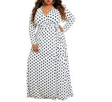 Plus size Long Dress Dot Print Boho Beach Dress Tunic Maxi Dress Women Party Dress Sundress Vestidos de festa 5XL plus embroidered yoke geo print tunic dress
