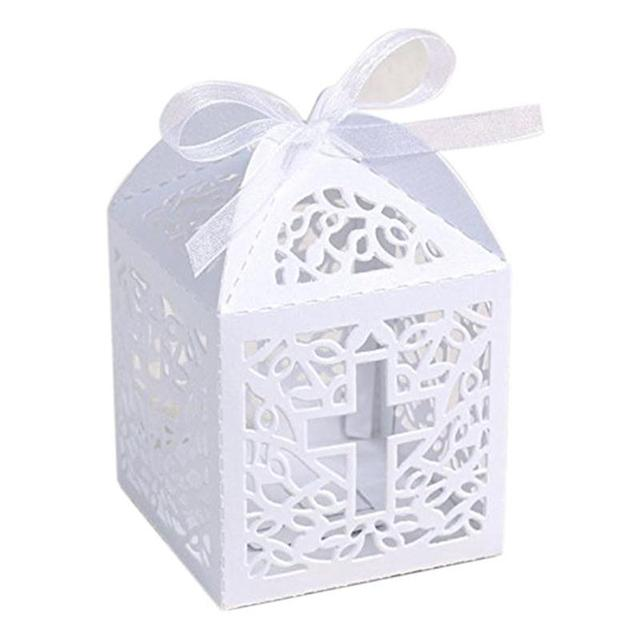 50 piezas de Cruz de la boda de estilo caja de dulces de caramelo dulces de regalo cajas de Favor con cinta de decoración de fiesta de regalos de boda para invitados favores