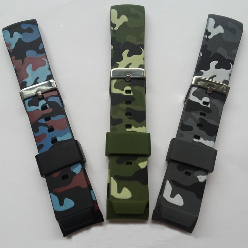 Watch Accessories 22 * 20mm Camo Rubber   Silicone Strap Strap + Stainless Steel Buckle + Free Tools Free Shipping