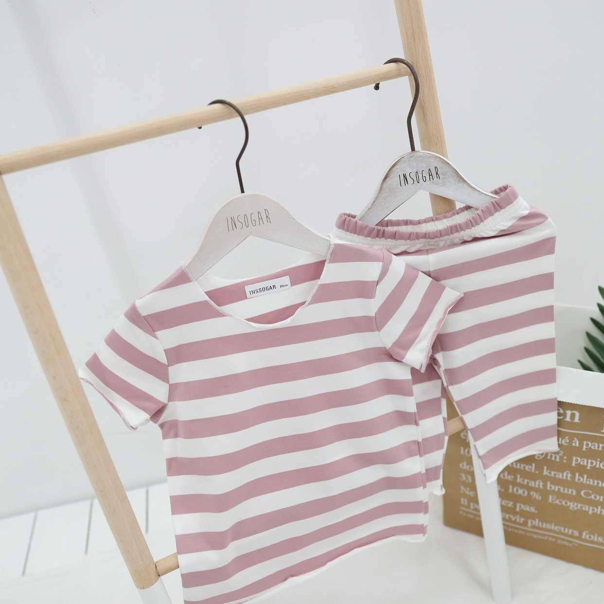 2020 Nieuwe Koreaanse Versie Van De Kinderen Gestreepte Pyjama Set Tweedelige Kinderen Pyjama Meisjes Zeven- punt Mouw Zomer Pak