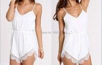 شحن مجاني جديد 2016 حار بيع المرأة الصيف الرباط بذلة مثير النساء أزياء بيضاء الدانتيل الحمالات قطعة السراويل