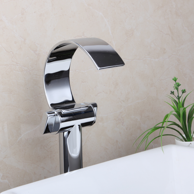 Bathroom Tall Waterfall Double Handles Deck Mount New Chrome Basin Sink Hot and Cold Banheiro Torneira Mixer Tap Faucet 8160G/2