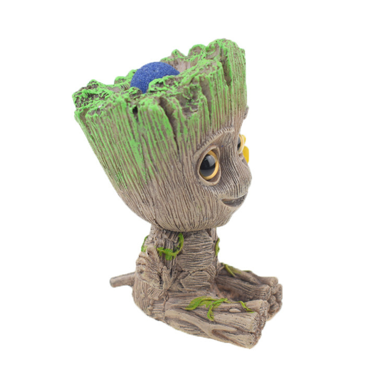 Cute Tree Man Figurine Garden Aquarium Decoration Root Air Bubble Driftwood Statue Fish Tank Background Ornament Rock Shelter3