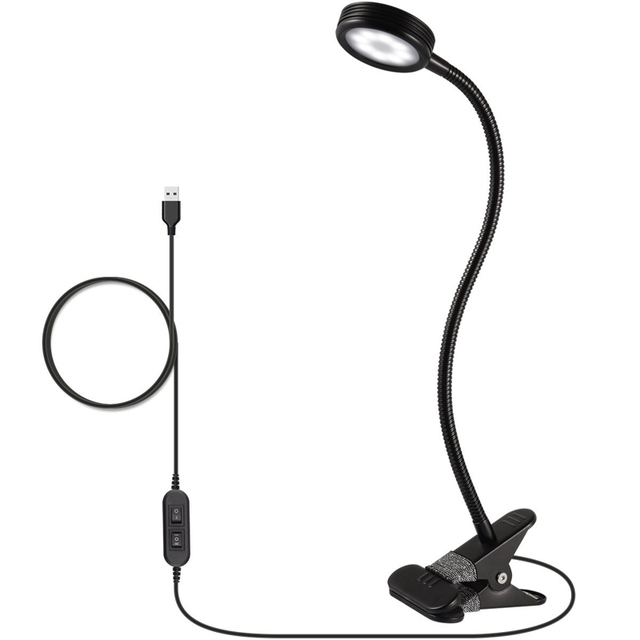 LED Reading Light, Clip on Light, Flexible Bed Light with 2 Brightness Levels,US AC Adapter and USB Cord Included for Desk,