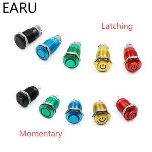 12mm Oxide Aluminium Red Green Yellow Blue Black Metal Push Button Switch Latching Fixation Momentary Reset LED Lamp Light Power(China)