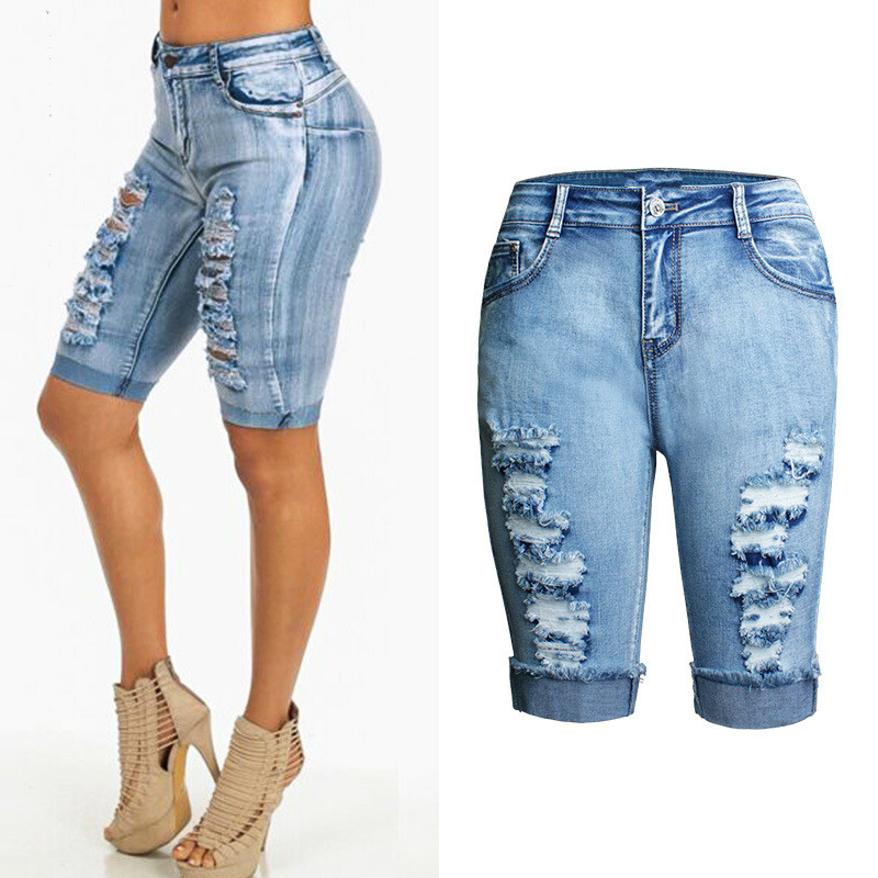 Online Get Cheap Ladies Knee Length Jean Shorts -Aliexpress.com ...
