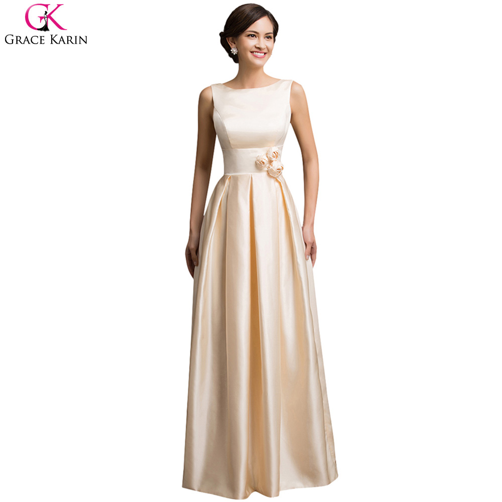 Grace karin prom dresses champagne satin elegant formal for Formal long dresses for weddings
