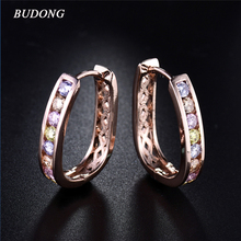 BUDONG Fashion Hoop Earring for Women Square Pierced Rose Gold Color Earing Multicolored Crystal Zirconia Jewelry
