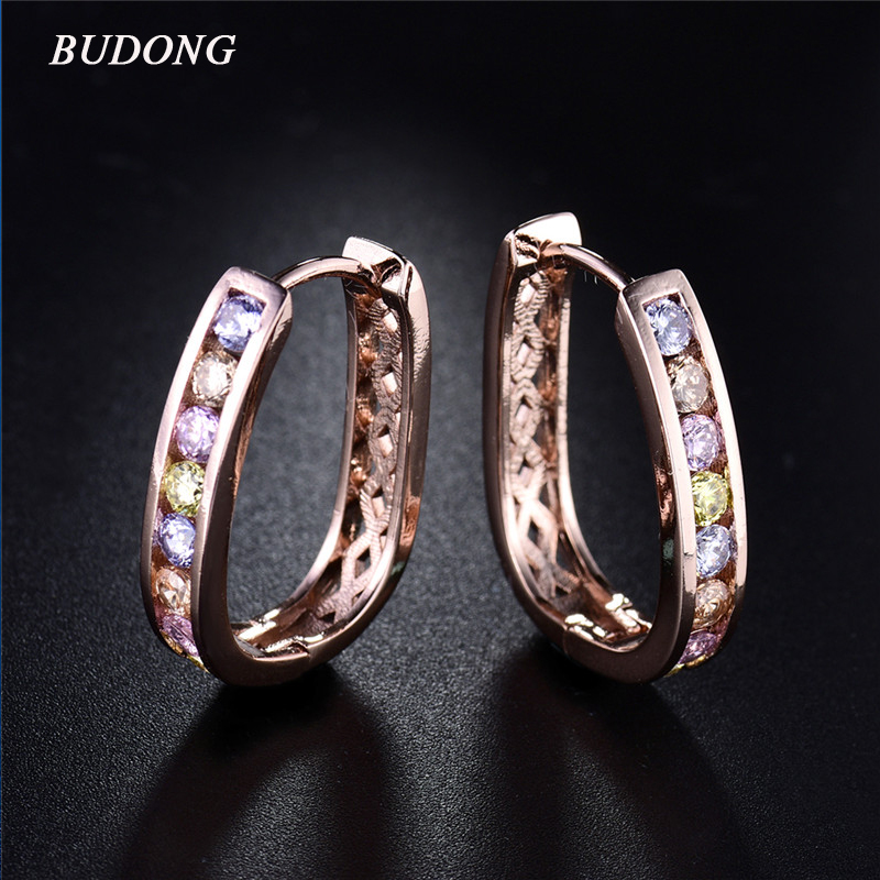 BUDONG Fashion Hoop Earring for Women Square Pierced Rose Gold Color Earing Multicolored font b Crystal