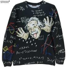 Новый бренд моды весна и Осень стиль Великий Эйнштейн отпечатано 3D тонкие кофты мужская тонкий пуловер толстовки W3