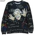 Nova marca de moda primavera e no Outono estilo Grande Einstein impresso 3D camisolas finas dos homens hoodies do pulôver fino W3