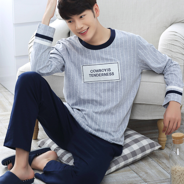 2016 winter cotton long sleeve lovers striped pajamas sets women's sleepwear sleepshirts sexy men's pajamas homewear fashion clo