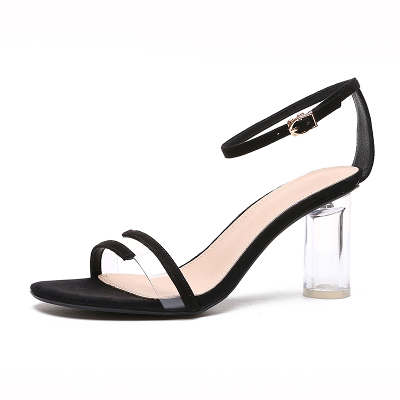 Black Sandals Transparent Heel Wedding-Shoes High-Heel Sweet 8cm Womens Sexy Simple