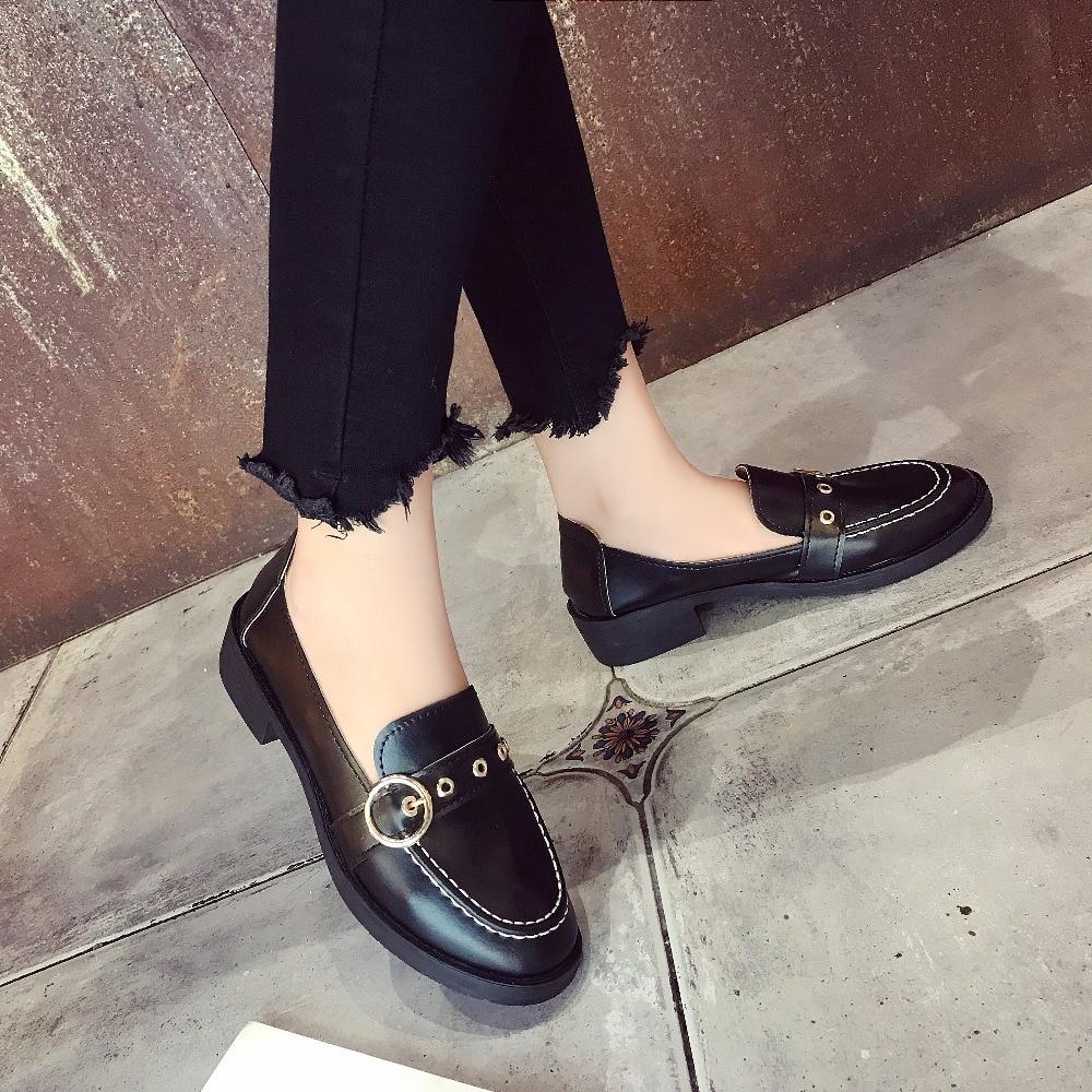 Nouvelle Appartements Casual Femmes Mode Métal 2019 Confortable En Marque De Respirant Chaussures Souple Cuir Printemps 888 Bouton Automne 888 nxSq0Yfg
