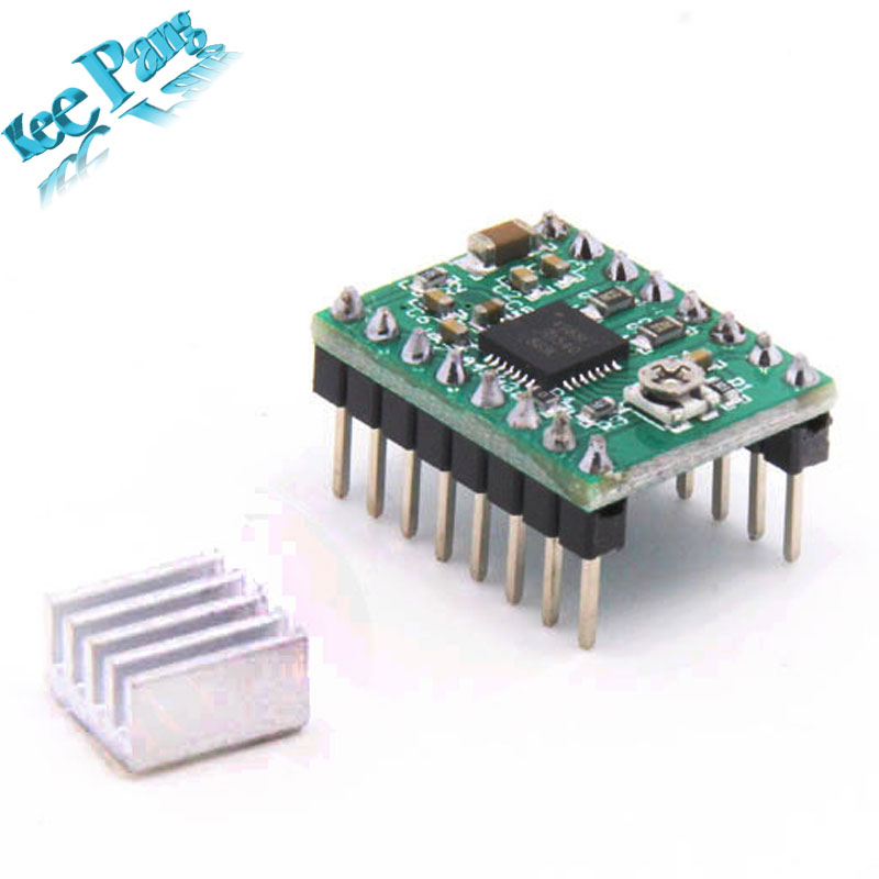 5pcs/lot Stepper Driver A4988 stepper motor driver  + heat sink with sticker free shipping drop shipping
