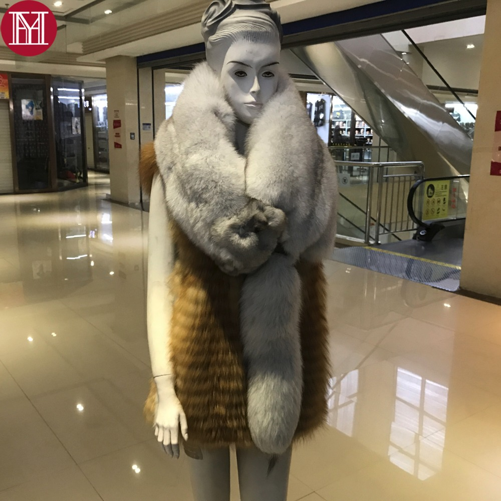 100 Natural Real Fox Fur Scarf For Women Fashion Winter Genuine Fur Collar Scarves Warm Real