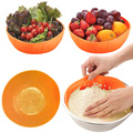 Multi-function Silicone kitchen Drain Basket Rice Washing Vegetables and Fruit Basket Dish Cover  TB Sale