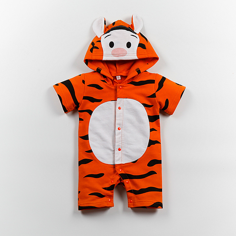 100% Cotton Summer Baby Romper Cartoon tiger yellow bear bay boy girl clothes toddler Hooded newborn baby jumpsuit outfits