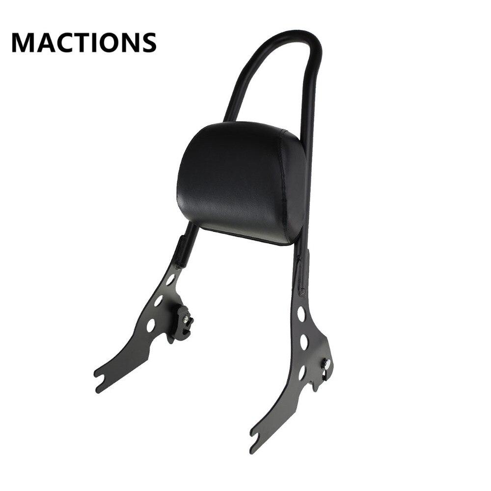 Motorcycle Black Passenger Backrest Sissy Bar Cushion Pad For Harley Sportster XL883 1200 48 04 15