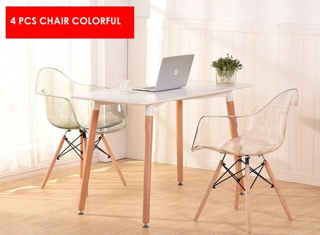 € 544.36 |Diseño moderno acrílico transparente minimalista moderno diseño  clásico Silla de comedor de plástico sólido de madera café desván silla 4  ...