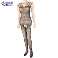 Open Crotch Lace Strap Body Stocking Lingerie Bodysuit Nightwear Mesh Fishnet Pantyhose Tights Sexy Hosiery For