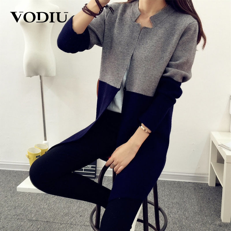Casual Cardigans Coat Sweater Women Autumn Winter Color Patchwork Jumper Knitted Long Sleeve Long Cardigan Sweater Female
