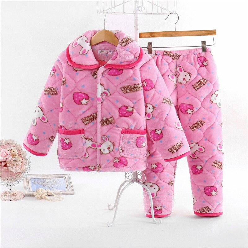 Thicken winter pajama sets Kid Sleepwear Set for Children 2017 new fashion children pajamas 3 layer warm clothes