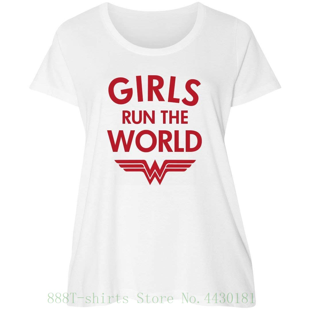 b6c2810daff Women s Tee Wonder Woman Girls Rule Plus Tee   Women s Curvy Plus Size  Scoopneck T Shirt Hort Leeve O Neck T-shirt