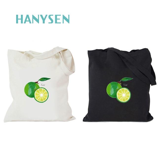 Hanysen 2017 Hot Summer Korean Style Cartoon Lime Pattern Printing Canvas Zipper Handbags Fresh Art