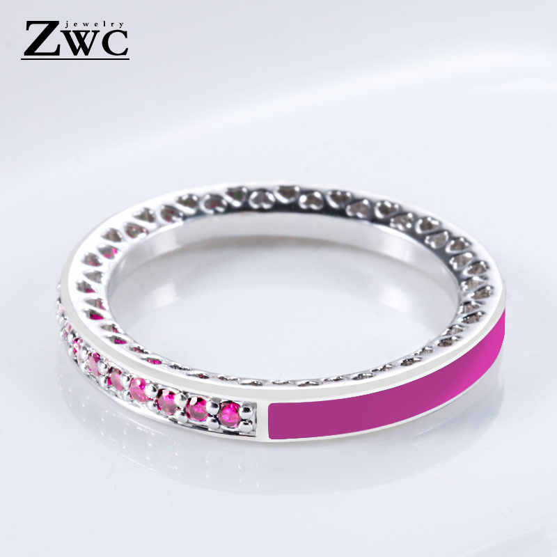 cd368a553 Detail Feedback Questions about ZWC Fashion Charm Crystal Silver Finger Rings  for Women Men Mother's Day Radiant Hearts Light Pink Enamel Clear Ring  Jewelry ...