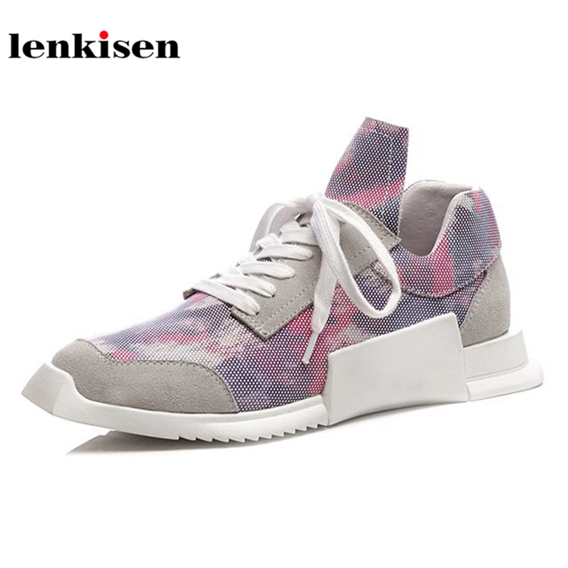 Lenkisen genuine leather square toe lace up breathable sneaker cozy shoes high fashion famous brand women vulcanized shoes L0f1