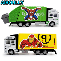 1 Pcs Toy Alloy Car Model Mini Diecast Delicate Pull Back Toy Super Hero Garbage Truck