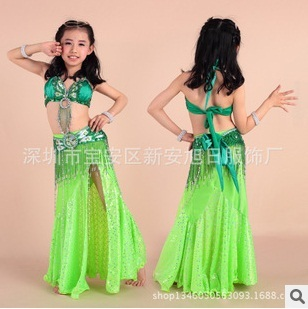 New Arrival fully hand-made sew Kids Child size Belly Dance Costumes Average Size with 8 colors 3pcs/set