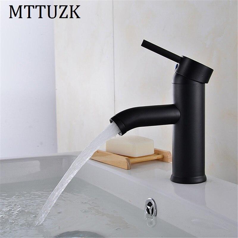 MTTUZK Preto de Aço Inoxidável Torneira Do Banheiro Bacia Mixer Torneira Para Banheiro Torneira Pia Do Banheiro Bacia Quente e Frio Torneira Misturadora