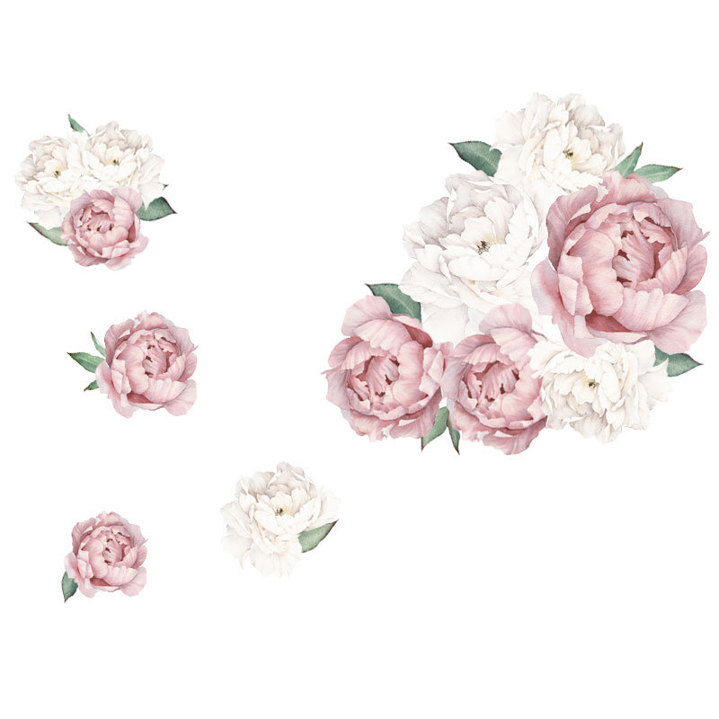 45*60CM Pink Peony Flower Wall Stickers Romantic Flowers Home Decor For Bedroom Living Room Accessories DIY Vinyl Wall Decals
