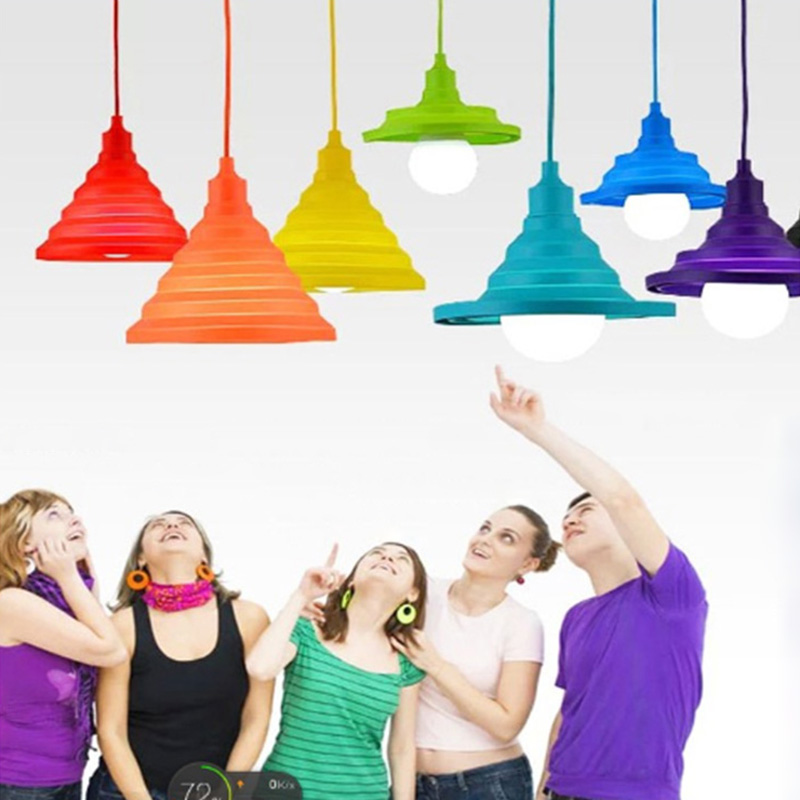 simple personality can be folded to fold the restaurant supermarket fruit shop children's pendant lamp color silica gel cr80 crf125 150 250 450 230f falling short handle can be folded forging horn